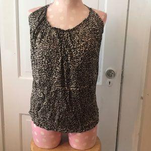 100% silk cheetah print shirt